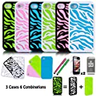 E LV Three Pieces Interchangeable Zebra Design Hard and Soft Hybrid Armor Combo Case Skin Gel Bundle for Apple iPhone 4/4S 4th Generation with 2 Screen Protectors