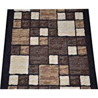 Dean Washable Carpet Rug Runner - Hop Scotch Chocolate - Purchase By the Linear Foot