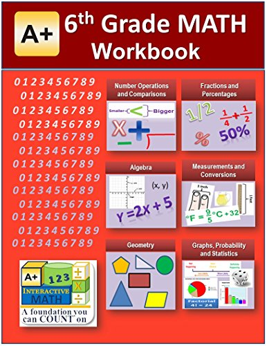 6th Grade Math Workbook (Printed B&W Plasti-coil bound) (129 Worksheets, 18 Tests and Answer Keys) (Coil Bound compare prices)