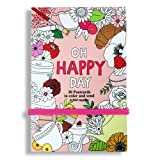 'OH HAPPY DAY' Postcard Coloring Book, 30 Postcards 4X6, Elastic Closure- Greeting Cards Set Anti Stress Coloring Postcard Book Color Therapy Stationery Note Cards Set