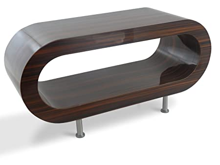 Medio Retro de Alto Brillo de Nogal Stripey Café Aro de 90 cm / Mesa de TV de Pie Con Los Pies