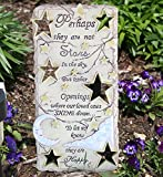 """Garden Stone Memorial Bereavement Plaque with Cut Out Stars and White Painted Moon, the Remembrance Message on It Reads, Perhaps They Are Not Stars in the Sky but Rather Openings Where Our Loved Ones Shine Down to Let Us Know They Are Happy, 12 Inch High X 6"""" Wide, Perfect for a Memorial Garden, Grave Site, Mantel, Bookshelf, Hang It on a Wall"""