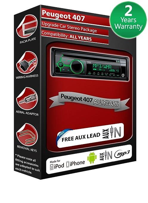 Peugeot 407 Autoradio CD MP3 radio play Clarion, iPod, iPhone, Android