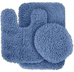 Garland Rug 3-Piece Serendipity Shaggy Washable Nylon Bathroom Rug Set, Basin Blue