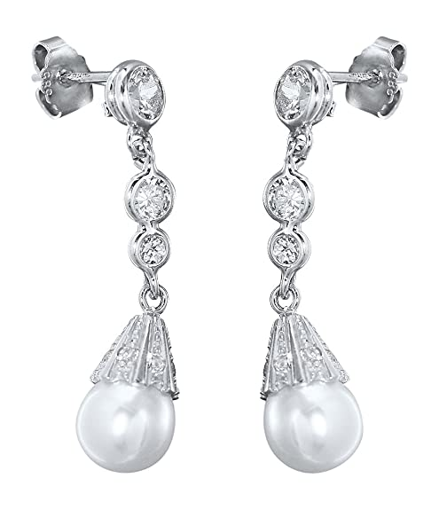 Hobra - Luxury White Gold 585 14 K White Gold Earrings with Pearl and Cubic Zirconia Drop Earrings Gold