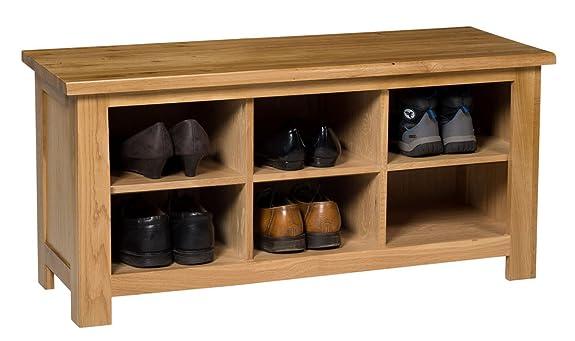 Waverly panca scarpiera in rovere chiaro con finitura in legno di rovere 8paia | Solido legno organizzatore/armadietto/supporto