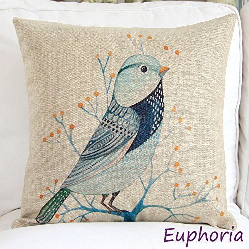 "Euphoria® Home Decorative Cushion Covers Pillows Shell Cotton Linen Blend Teal Bird In The Tree 18"" X 18"" front-994443"