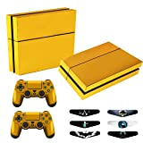 Skins for PS4 Controller - Decals for Playstation 4 Games - Stickers Cover for PS4 Console Sony Playstation Four Accessories PS4 Faceplate with Dualshock 4 Two Controllers Skin - Golden (Color: Full Golden)