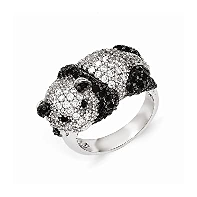 Cheryl M Sterling Silver Black and White CZ Panda Bear Ring