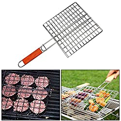 Xinwan Chromium Plated Barbecue BBQ Grill Pan with Wooden Handle