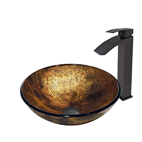 VIGO Copper Shapes Glass Vessel Bathroom Sink and Duris Vessel Faucet with Pop Up, Matte Black