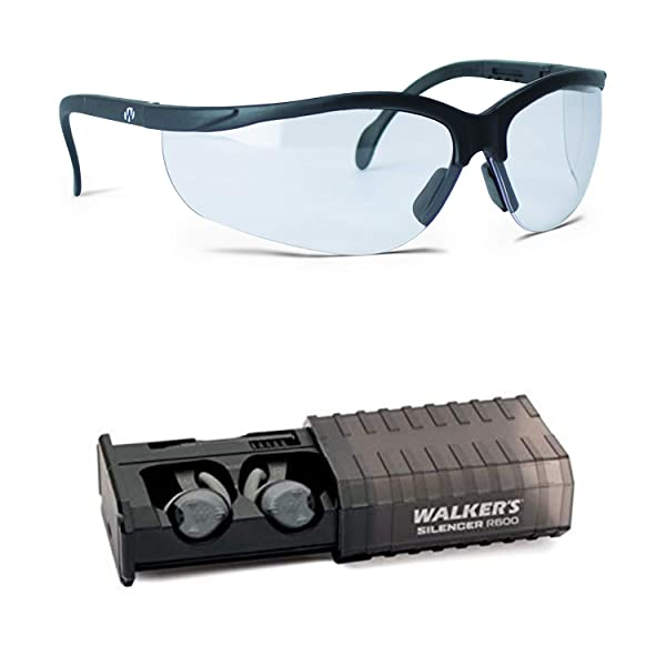 Walker's Game Ear Silencer Earbuds Rechargeable and Clear Lens Shoot Glasses (Color: Clear, Tamaño: with Glasses)