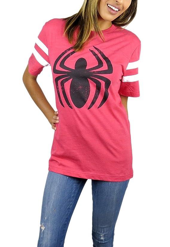 Spider-man Womens Logo Varsity Football Tee Red Heather