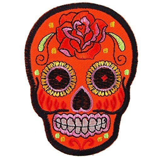 Orange Sunny Buick Rose Sugar Skull Patch Embroidered Iron on Hat Jacket Hoodie Backpack Ideal for Gift. For Collection with Free Shipping By Botan by BIKER Patch