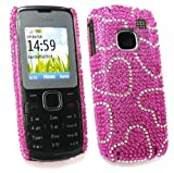 Flash Superstore Nokia C1-01 Diamante Hard Back Cover Hot Pink Hearts