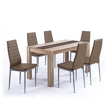 Tischgruppe Pegasus Esszimmer Kuche Tisch Sonoma Eiche 6 Stuhle in cappuccino