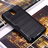 Bracevor Dual Layer Card Slot Shimmer Back Case Cover for Samsung Galaxy Note 3 - Jet Black