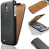 Samsung Galaxy S4 Hülle - i9500 / i9505 - ECHTES LEDER HANDGEFERTIGT - bester Schutz Ihres Handys im Flip Cover Design - Etui Case Schale für Ihr Smartphone - Tasche in Schwarz