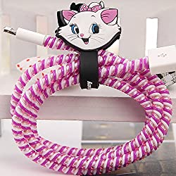 Tospania DIY Cartoon Style Spiral Wire Protectors for Apple Lightning Cables/Samsung and other Tablet Charging Cables/ Earphone Cords and More (Marie Cat)