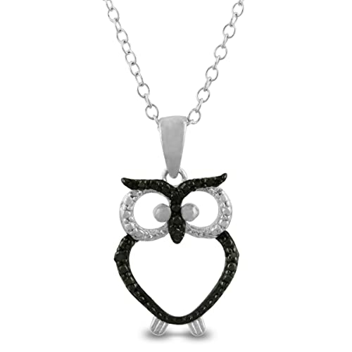 Trendy-Black-Diamond-Owl-Necklace-in-Sterling-Silver