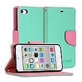 GMYLE(R) 財布ケース クラシック iPod touch 第5世代専用 - ターコイズとピンク PUレザースタンド手帳型ケースカバー
