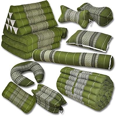 Kapok Thaikissen, Yogakissen, Massagekissen, Kopfkissen, Tantrakissen, Sitzkissen - Grün
