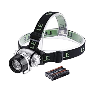 LE LED Headlamp, 18 White LED and 2 Red LED, 4 Brightness Level Choice, LED Headlamps, 3 AAA Batteries Included