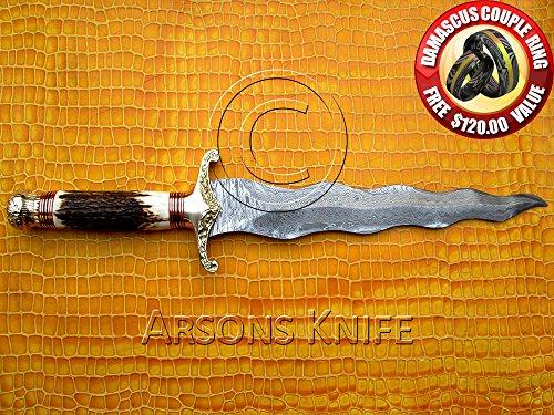 Arsons Knife Handmade Custom Damascus Kris Dagger Sword
