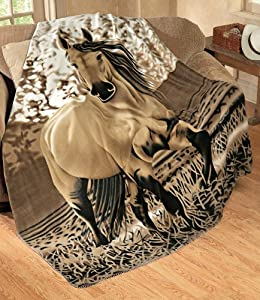 Galloping Horse Fleece Throw Blanket By Collections Etc