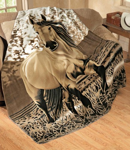 Best Deals! Collections Etc - Galloping Horse Fleece Throw Blanket