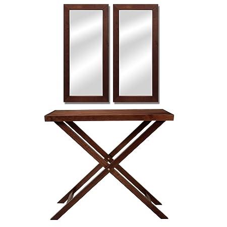 PAME 41114 - Mesa de entrada con 2 espejos, madera de nogal