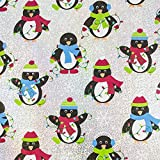 JAM Paper® Christmas Wrapping Paper - 25 Sq Ft - Silver Penguin Design Sparkle Gift Wrap - Roll Sold Individually