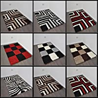 """Extra Large Small Shaggy Rug 11 Colours Plain 5cm Thick Soft Pile Supplied with Non Slip Rug Grippers Modern 100% Berclon Twist Fibre Non-Shed Polyproylene Heat Set (Brown, 120x170 cm (4ft x 5ft8"""")) from AHOC"""