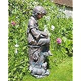 Small Bronze Garden Statues - Reading Boy Figure Sculpture