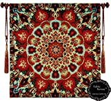 "Beautiful Rangoli Carmel Soze 31""x32"" Fine Tapestry Jacquard Woven Wall Hanging Tapestry Flowers (Yw91)"
