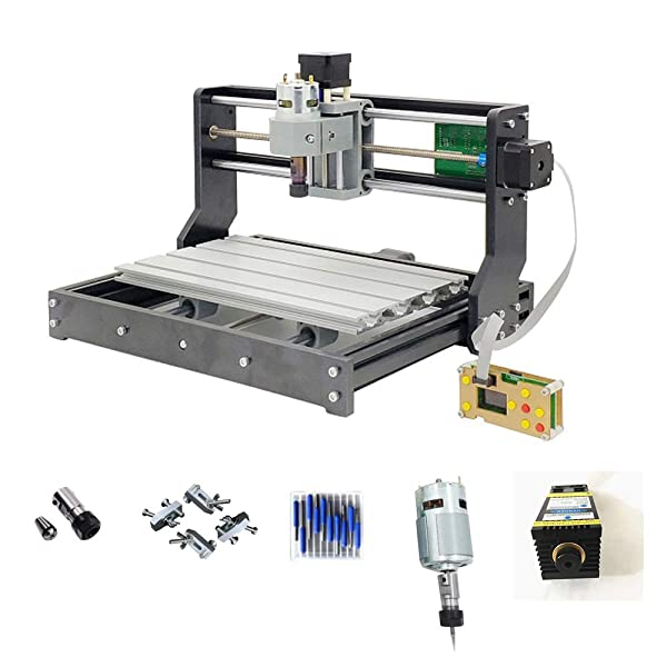Purewords DIY CNC 3018 PRO Router with 5500mw Laser Module and Offline controller GRBL Control LaserGRBL for PCB Wood Milling Engraving Machine 10pcs 3.175mm Carbide End Mill Engraving Bit oy
