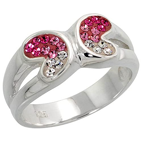 Sterling Silver wide Butterfly Ring, Pink Topaz-colored CZ Stones
