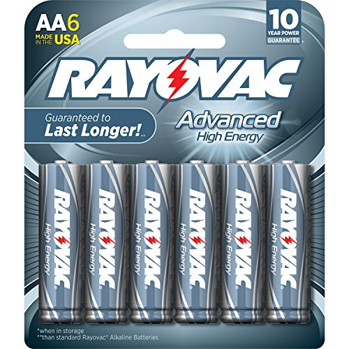 Rayovac 6 Pack High Energy AA Batteries, 815-6HEF