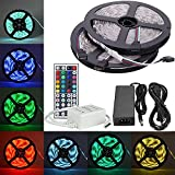 FLFLK 2x 5m (32.8ft) 600LEDs Flexible Waterproof 5050SMD RGB Color Change LED Strip Lights Kit with 44 Key Remote, IR Control Box and 12V 10A Power Supply