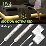 Motion Activated Bed Light, Megulla Motion Sensor LED Night Light -39in, USB Rechargeable Battery, Stick Anywhere, Automatic Shut Off Timer- for Baby's Room, Pantry and Stairs -2Pack, Warm White (Color: Warm White, 2pack)