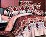 Super India Printed Micro Fiber Double Bed Comforter/Quilt set with two pillow cases (Red Bishop)