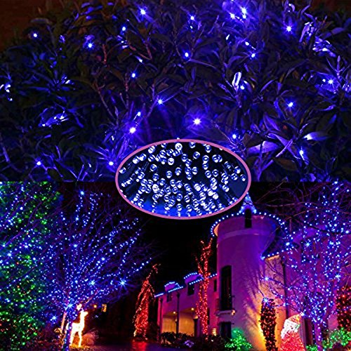 HDE Expandable 100 LED String Lights Fairy Rope Starry Dorm Room Multifunction Lights for Indoor Outdoor Patio Home Holiday Decoration (Blue)
