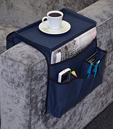 6 Pocket Sofa Couch Arm Rest Organizer with Table-Top, Black