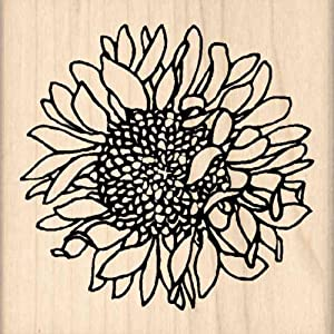 Sunflower Rubber Stamp - 2-1/2 inches x 2-1/2 inches