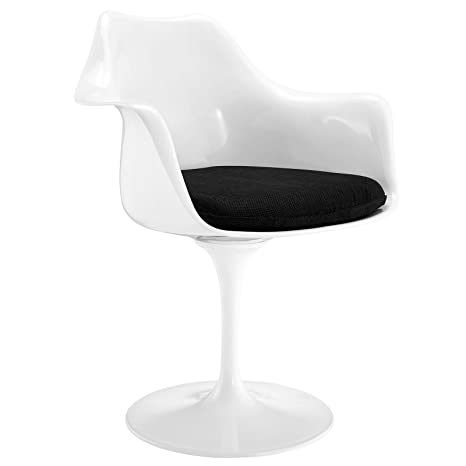 LexMod Eero Saarinen Style Tulip Armchair with Black Cushion
