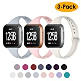 NANW Silicone Bands Compatible with Fitbit Versa/Versa Lite Edition, Narrow Slim Soft Replacement Wristband Waterproof Accessories Sport Band for Versa Women Men, 3-Pack, Large Small (Color: Apricot+Light Blue+Pink, Tamaño: Small (6.1
