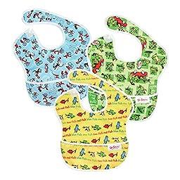 Bumkins Waterproof SuperBib 3 Pack, Seuss (SN4-Cat in the Hat/Green Eggs/Yellow Fish) (6-24 Months)