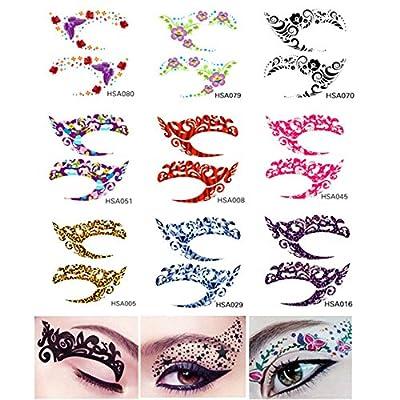 Tmalltide 10 Pair Fun Temporary Eye Tattoo Makeup Eyeshadow Stickers Eyeliner Crystal Gem Glitter Liner Packs- Butterfly, Wings, Star - Random Styles