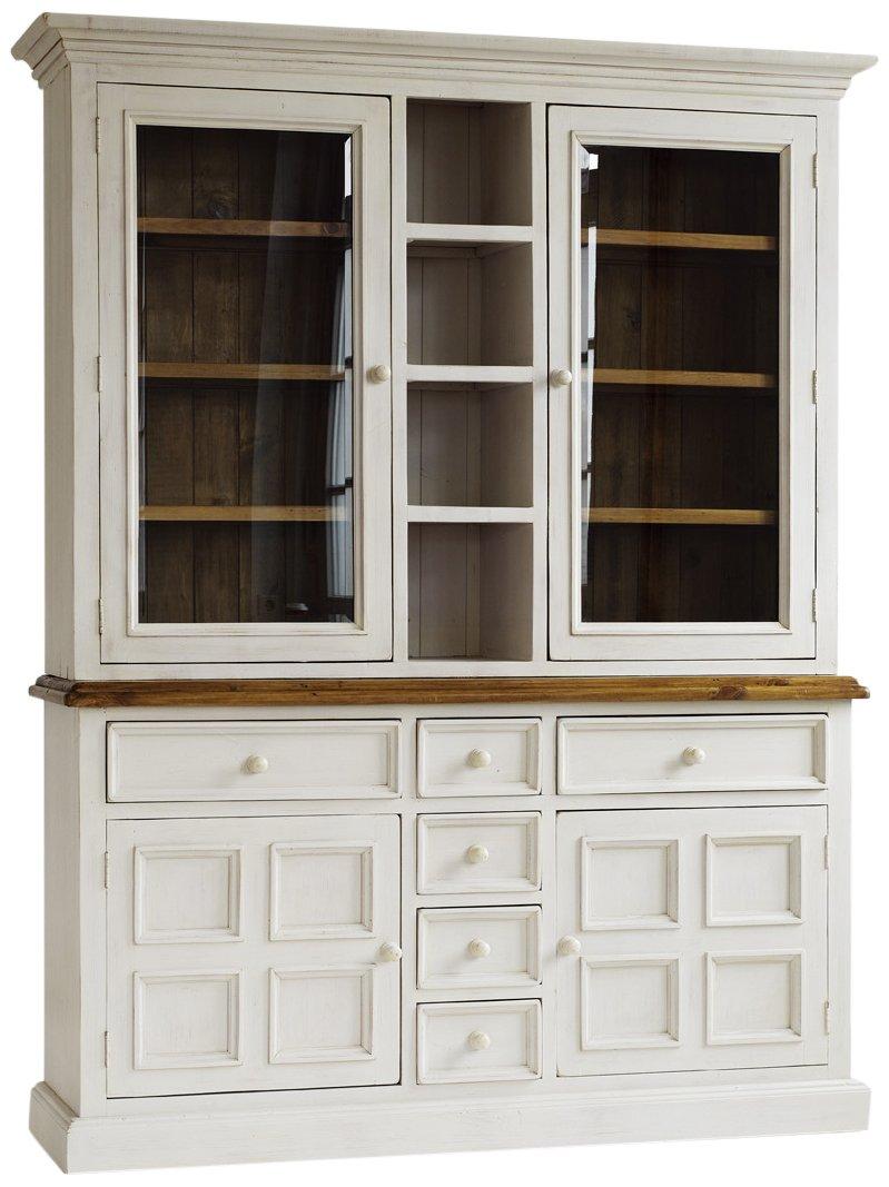 Robas Lund FH302013 Bodde Buffet, Massivholz, 4 Türen / 6 Schubkästen / 4 Ablagefächer, 166 x 215 x 45 cm, kiefer weiß / honigfarbig
