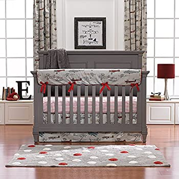 Vintage Airplanes Bumperless Crib Bedding